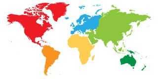 World map divided into six continents. Each continent in different color. Simple flat vector illustration.  Royalty Free Stock Photo