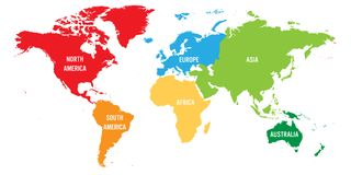 World map divided into six continents. Each continent in different color. Simple flat vector illustration.  Stock Photo