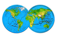 World Map on Dollar and Euro coins stock photo