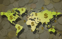 World map and dollar sign with coin. Stock Photography