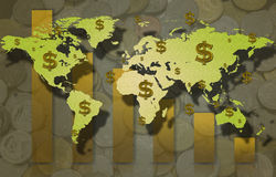 World map and dollar sign with coin and Stock Photos