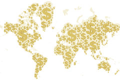 World map dollar sign Royalty Free Stock Image