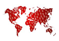 World map with dollars money on white background Stock Image
