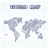 World map doodle pen ink Royalty Free Stock Photos
