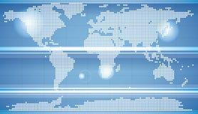 World map. Dot on blue background Stock Image