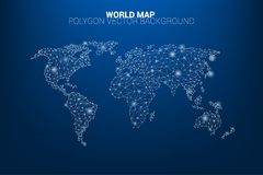 World map dot connection line polygon: concept of digital world, Data connection Stock Photography