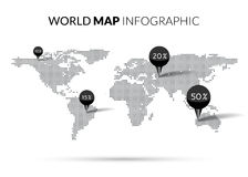 World Map Dot illustration infographics with points pins and percentage. Halftone Dotwork Vector illustration Royalty Free Stock Photo