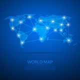 World map with dot nodes. Vector design dots map. Dots map background Stock Images