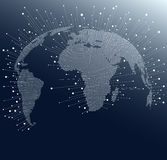 World Map with dots and lines. Global network connections across the globe Stock Photography