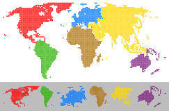 World map dotted colorful continents Royalty Free Stock Images