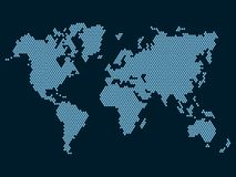 World Map Dotted on Dark Background. Vector Royalty Free Stock Photos