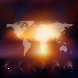 World map with dotted globes, abstract blurred. World map with dotted globes. Abstract blurred background, abstract template vector Stock Photos