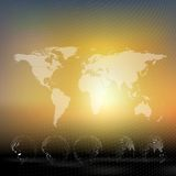 World map with dotted globes, abstract blurred Stock Image