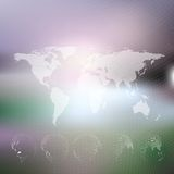 World map with dotted globes, abstract blurred Royalty Free Stock Image