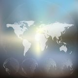 World map with dotted globes, abstract blurred. World map with dotted globes. Abstract blurred background, abstract template vector Stock Image