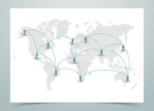 World Map Dotted Vector With Links Stock Image