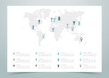 World Map Dotted Vector With Markers Stock Photos