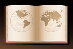 World map draw on old book Stock Image