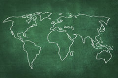 World map drawing on green chalkboard Royalty Free Stock Photo