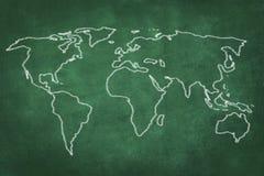 World map drawing on green chalkboard Royalty Free Stock Photo