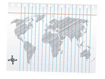 World map drawing, pencil sketch. Sketch of a world map with compas Stock Photography