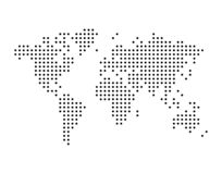 World map drawn with dots, simple black illustration. World map drawn with dots, can be used in infographics, simple monochrome black color vector illustration stock illustration