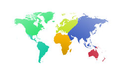 World map with each continent of the world Royalty Free Stock Photo