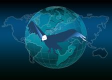 World map and eagle Stock Photography