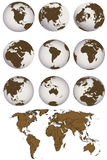 World map and Earth globes Royalty Free Stock Images