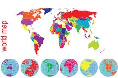 World map and Earth globes  in bright tones Royalty Free Stock Photography