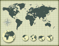 World map with earth globes stock illustration