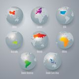 World map with earth globes. Royalty Free Stock Photography