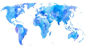 World map.Earth. Watercolor hand drawn illustration.White background Stock Photo