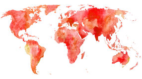 World map.Earth. Watercolor hand drawn illustration.White background Stock Image