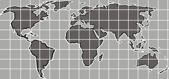 World map. Easy green world map as technology background Stock Photos