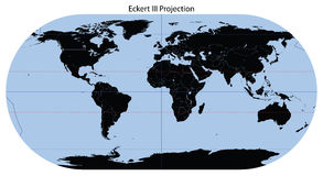 World Map (Eckert III Projection) Royalty Free Stock Photo