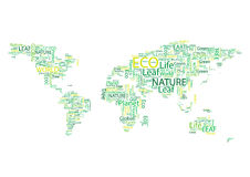World map Eco Font  set seamless pattern Royalty Free Stock Images