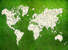 World Map (eco green grass) Stock Image