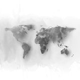 World map element, abstract hand drawn watercolor Royalty Free Stock Images