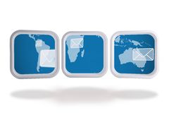 World map and email on abstract screen Royalty Free Stock Photos