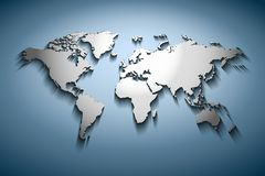 World map embossed. Over blue gradient royalty free illustration