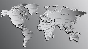 World Map Engraved on Grey. Highly Detailed Stock Photo