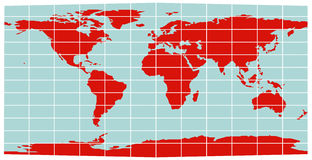 World Map - Equirectangular grid Royalty Free Stock Image
