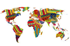 World map with ethnic motifs Stock Photo