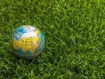 World Map of Europe, America, Asia, India, New Zealand, New Zeal. And on beautiful green grass Stock Images