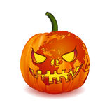World map Europe Zone on Scary Jack O Lantern Halloween pumpkin with candle light inside. Stock Photos