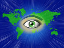 World map with eye Stock Photos