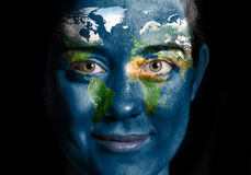 World map face. World map painted on beauty woman face Stock Photography
