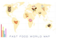World Map with Fast Food and Sweet Food Royalty Free Stock Photos