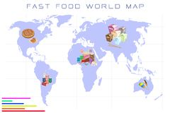 World Map with Fast Food and Take Away Food Stock Photography